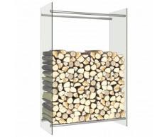 vidaXL Portant de bois de chauffage Transparent 80x35x120 cm Verre