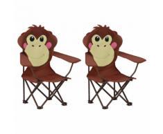 vidaXL Chaises de jardin pour enfants 2 pcs Marron Tissu