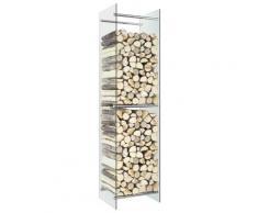 vidaXL Portant de bois de chauffage Transparent 40x35x160 cm Verre