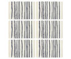 vidaXL Napperons 6 pcs Bleu et blanc 30 x 45 cm Coton