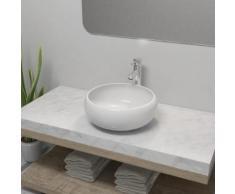 vidaXL Lavabo de salle de bain avec mitigeur Céramique Rond Blanc