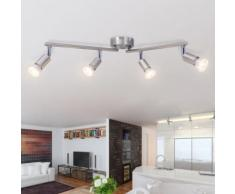 vidaXL Plafonnier avec 4 projecteurs LED Nickel satiné