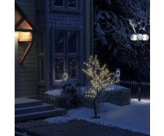 vidaXL Sapin de Noël 128 LED blanc chaud Cerisier en fleurs 120 cm