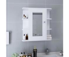 vidaXL Armoire à miroir de salle de bain Blanc 66x17x63 cm MDF