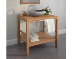vidaXL Meuble-lavabo de salle de bains Teck massif 74x45x75 cm