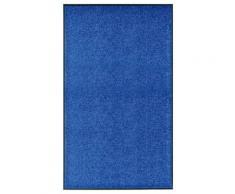 vidaXL Paillasson lavable Bleu 90x150 cm