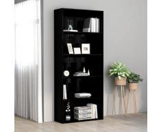 vidaXL Bibliothèque à 5 niveaux Noir brillant 80x30x189 cm Aggloméré
