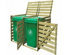 vidaXL Abri pour poubelle double 240 L Bois imprégné