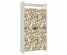 vidaXL Portant de bois de chauffage Blanc 80x35x160 cm Verre
