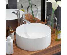 vidaXL Lavabo ronde Céramique Blanc 40 x 15 cm