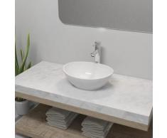 vidaXL Lavabo de salle de bain avec mitigeur Céramique Ovale Blanc