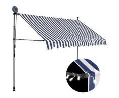 vidaXL Auvent manuel rétractable avec LED 300 cm Bleu et blanc
