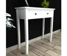 vidaXL Table de console et coiffeuse avec 2 tiroirs Blanc