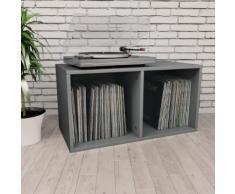 vidaXL Boîte de rangement de vinyles Gris 71x34x36 cm Aggloméré
