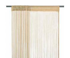 vidaXL Rideau en fils 2 pcs 100 x 250 cm Beige