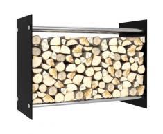 vidaXL Portant de bois de chauffage Noir 80x35x60 cm Verre