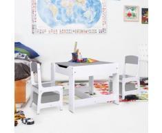 vidaXL Table pour enfants avec 2 chaises Blanc MDF
