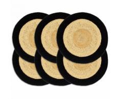 vidaXL Napperons 6 pcs Naturel et noir 38 cm Jute et coton