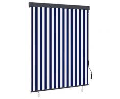 vidaXL Store roulant d'extérieur 140x250 cm Bleu et blanc