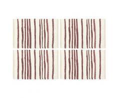 vidaXL Napperons 4 pcs Bordeaux et blanc 30 x 45 cm Coton
