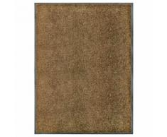 vidaXL Paillasson lavable Marron 90x120 cm