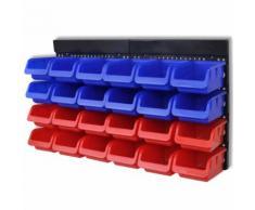 vidaXL Étagère à outils de garage murale 2 pcs Bleu et rouge