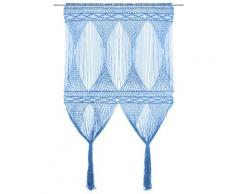 vidaXL Rideau en macramé Bleu 140x240 cm Coton