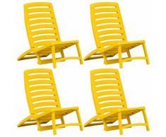 vidaXL Chaise de plage pliable pour enfants 4 pcs Plastique Jaune