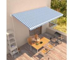 vidaXL Auvent rétractable automatique 600x300 cm Bleu et blanc
