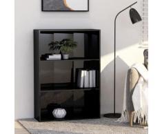 vidaXL Bibliothèque à 3 niveaux Noir brillant 80x30x114 cm Aggloméré