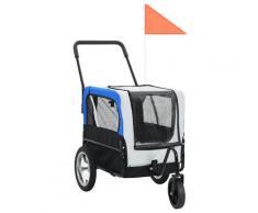 vidaXL Remorque de vélo pour chiens et poussette 2-en-1 Gris et bleu