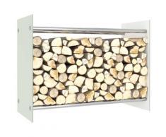 vidaXL Portant de bois de chauffage Blanc 80x35x60 cm Verre