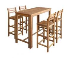 vidaXL Table et chaises de bar 5 pcs Bois d'acacia massif