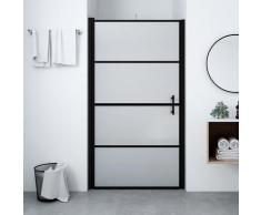 vidaXL Porte de douche Verre trempé dépoli 100x178 cm Noir