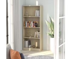 vidaXL Bibliothèque à 4 niveaux Chêne sonoma 60x24x142 cm Aggloméré