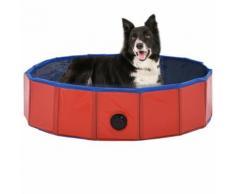 vidaXL Piscine pliable pour chiens Rouge 80x20 cm PVC