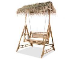 vidaXL Balancelle à 2 places avec feuilles de palmier Bambou 202 cm
