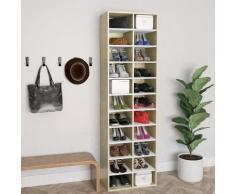 vidaXL Armoire à chaussures Blanc chêne sonoma 54x34x183 cm Aggloméré