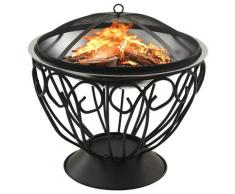 vidaXL Foyer et barbecue avec tisonnier 2 en 1 59x59x60 cm Inox