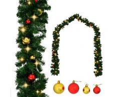 vidaXL Guirlande de Noël décorée avec boules et lumières LED 10 m
