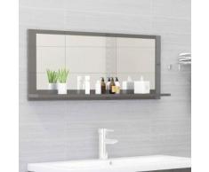 vidaXL Miroir de salle de bain Gris brillant 90x10,5x37 cm Aggloméré
