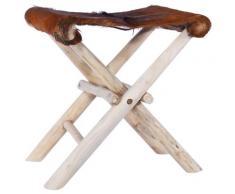 vidaXL Tabouret pliable Cuir véritable et bois de teck massif