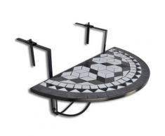 vidaXL Table suspendue de balcon Noir et blanc Mosaïque