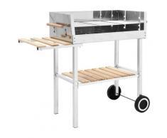 vidaXL Barbecue au charbon sur chariot Acier inoxydable et 2 étagères
