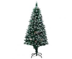 vidaXL Sapin de Noël avec pommes de pin et neige blanche 150 cm