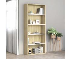 vidaXL Bibliothèque à 5 niveaux Blanc et chêne 80x30x189 cm Aggloméré