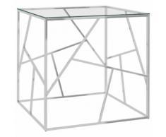 vidaXL Table basse Argenté 55x55x55 cm Acier inoxydable et verre