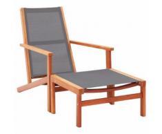 vidaXL Chaise de jardin et repose-pied Gris Eucalyptus et textilène