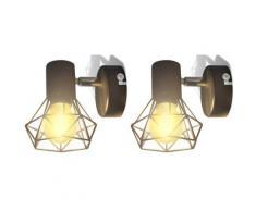 vidaXL Applique murale 2 pcs Style industriel Noir avec ampoule LED