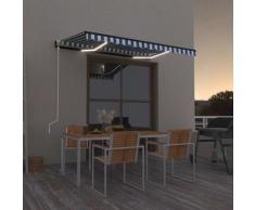 vidaXL Auvent automatique capteur de vent/LED 300x250 cm Bleu et blanc